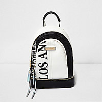 Black LA print panel backpack