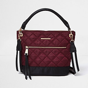 Burgundy quilted sports strap bucket bag