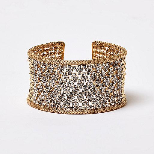 Gold tone diamanté cuff bracelet