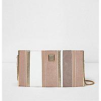 Pink contrast panel clutch bag