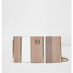Pink contrast panel clutch bag