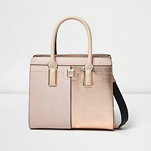 Pink metallic panel boxy tote bag