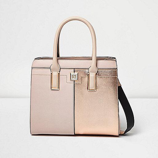 Pink metallic panel boxy tote bag