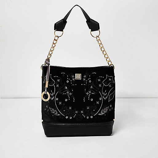 Black velvet embroidered slouch bag