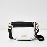 White and black panel satchel bag