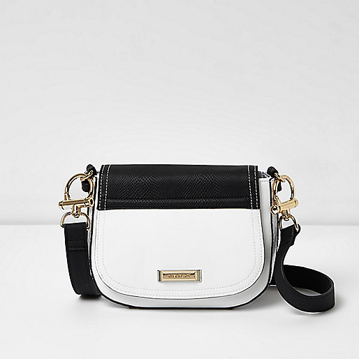 White and black crossbody satchel