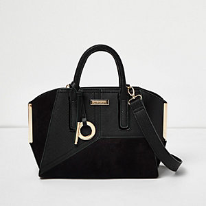 Black panel mini winged tote bag