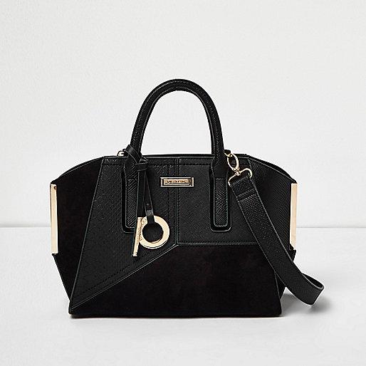 Black panel mini winged tote bag