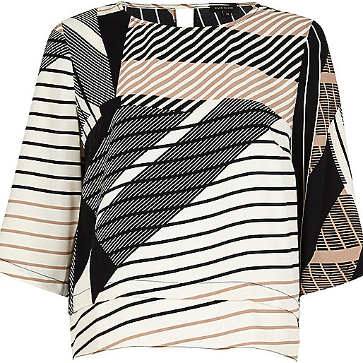 Brown stripe grazer top