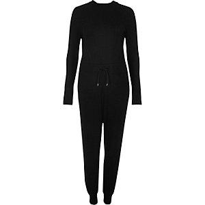 Black open back ribbed jumpsuit