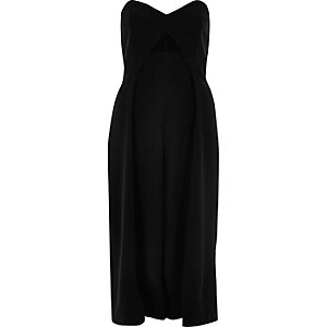 Black bandeau culotte jumpsuit