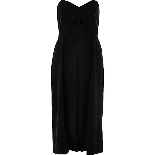 Combinaison noire bandeau coupe jupe-culotte