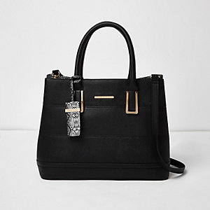 Black snake print boxy tote handbag