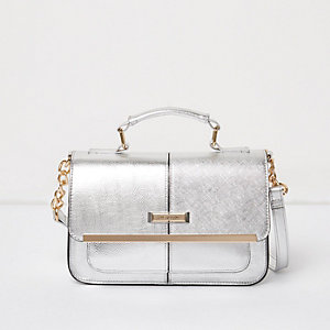 Silver mini satchel handbag