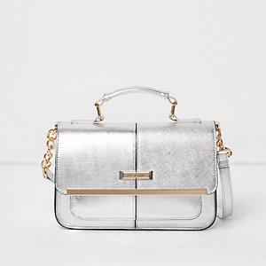 Mini sac à main sacoche argenté