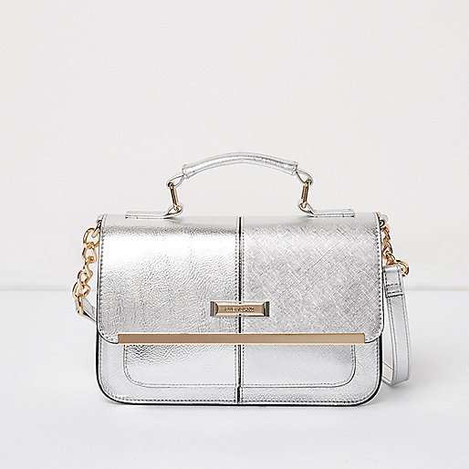 Silver mini satchel bag