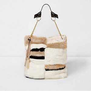 Nude faux fur panel slouch bag