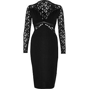 Schwarzes Bodycon-Kleid mit Spitzenbahn