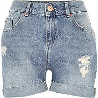 Short en jean girlfriend délavage bleu clair