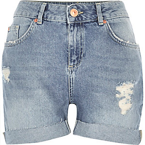 Light blue wash girlfriend denim shorts