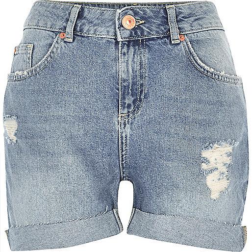 Light blue wash girlfriend denim shorts