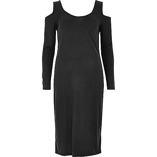 Grey cold shoulder column dress
