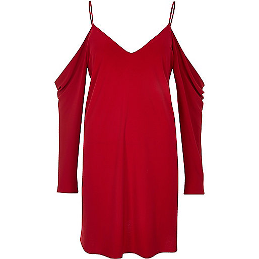 Red cold shoulder jersey dress
