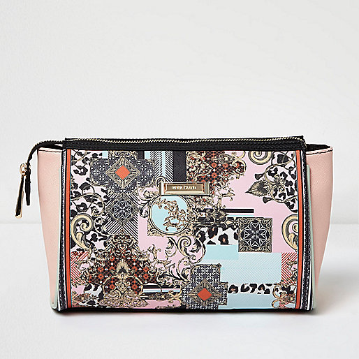 Pink scarf print make-up bag