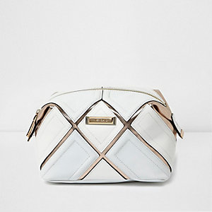 White metallic strip make-up bag