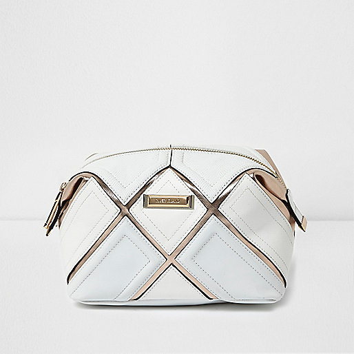 White metallic strip make-up bag