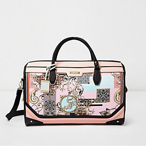 Pink scarf print panel weekend bag