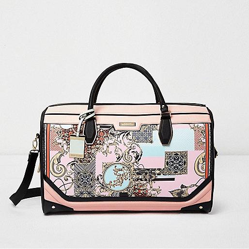Reisetasche mit Schalprint in Rosa