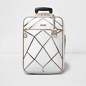 Koffer in Weiß-Metallic
