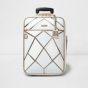 White metallic strip suitcase