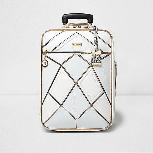 Valise blanche à rayures métallisées