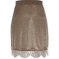 Sparkly cream lace trim mini skirt