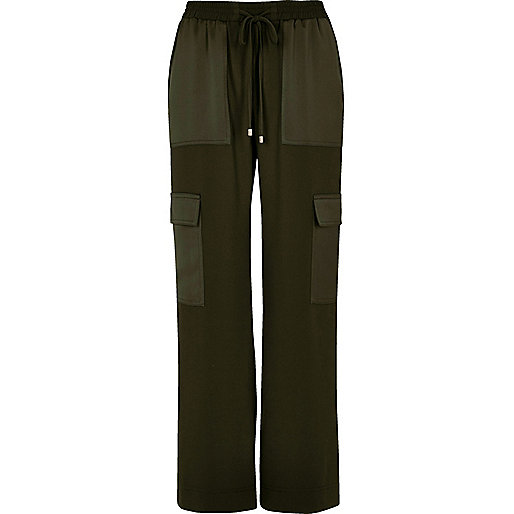 Khaki soft woven combat pants