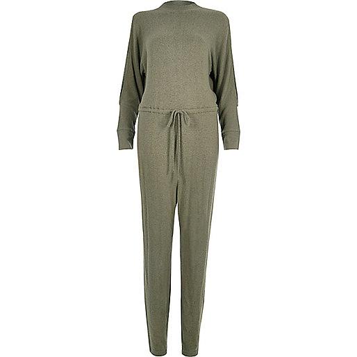 Jumpsuit in Khaki mit Kordelzug und Schulterausschnitten