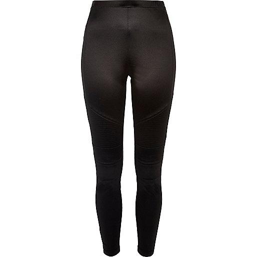 Schwarze Biker-Leggings