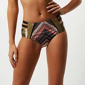 Orange mixed print high rise bikini bottoms