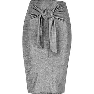 Silver tied waist pencil skirt