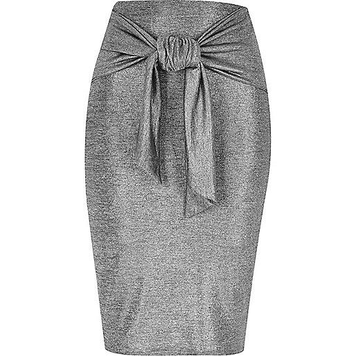 Silver tied waist pencil skirt