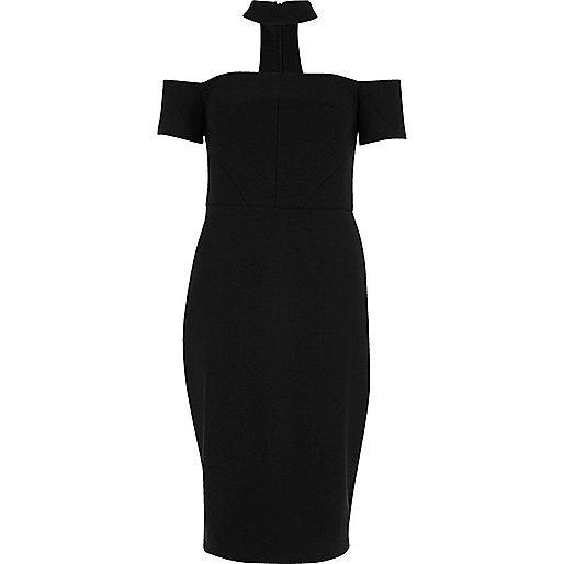 Schwarzes, kurzärmeliges Bardot-Kleid mit Halsband