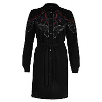 Black embellished tied shirt dress