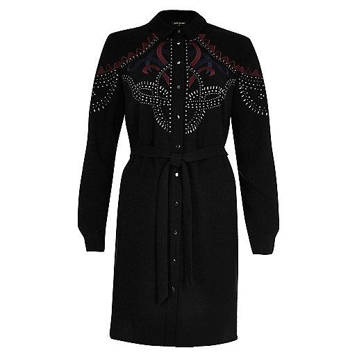 Schwarzes, verziertes Blusenkleid