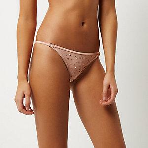 Bas de bikini clouté rose clair