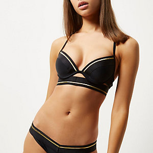Black sports gold tipped plunge bikini top