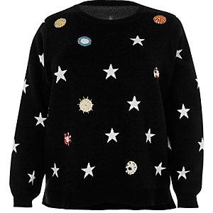 Plus black embellished star knit sweater