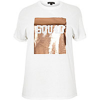 RI Plus white foil print boyfriend T-shirt
