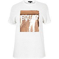 T-shirt boyfriend RI Plus imprimé métallisé blanc
